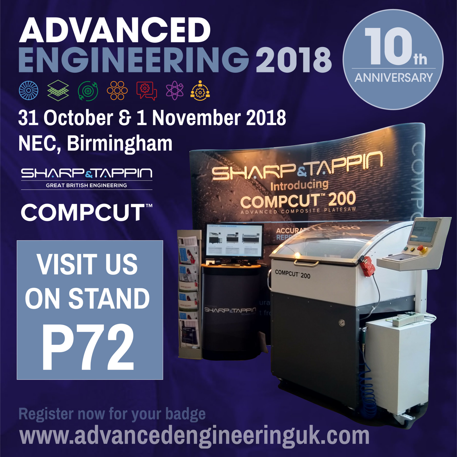 Sharp & Tappin Technology Ltd Exhibiting Range of Compcut Saws at Advanced Engineering 2018